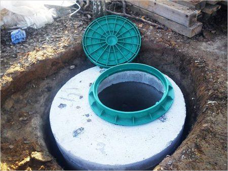Установленный колодец канализации